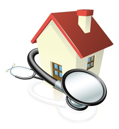 11383906 - a house with a stethoscope wrapped round it. concept for property maintenance or other real estate related.