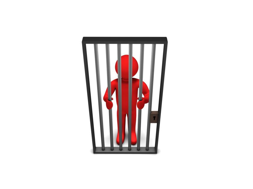 14519483 - red 3d person as a prisoner